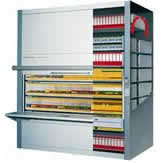 The Kardex Lektriever is a software controlled automated media storage and retrieval system that can hold thousands of files, videos, CD's , DVD, or a host of other types.