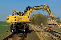 The Atlas Rail Road Excavators are adaptable and flexible: the new computer-aided CARSY system ensures optimal contact pressure with the rails. Can be used for an array of applications, from cutting works to dismantling and upgrading the railway track