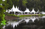 De Boer supply tents, marquees, temporary structures and free span structures for exhibitions, trade shows, conferences, sports events, hospitality, product launches, parties, celebrations, emergency accommodation, storage and distribution centres, showrooms, Tempory supermarkets, restaurants and clubhouses.