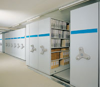 The concept of mobile shelving is increasingly popular for the less active and archival filing requirements. The Kardex range includes 3 different methods of operation, hand, gearwheel or electric.