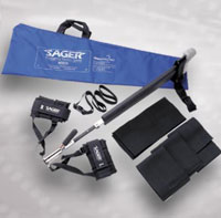 Sager Emergency Traction Splints from Pneupac enable accurate traction to be applied swiftly to a casualty who has suffered a fracture, or fractures, of the long bones of one or both legs (Femur - Tibia - Fibula).